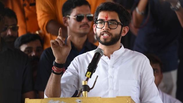 Sena leader and Yuva Sena chief Aaditya Thackeray, who is currently in Beed district on Jan Ashirwad Yatra, will discuss with women the issues faced by them in Bhiwandi on August 3.(Pramod Thakur/ Hindustan Times)