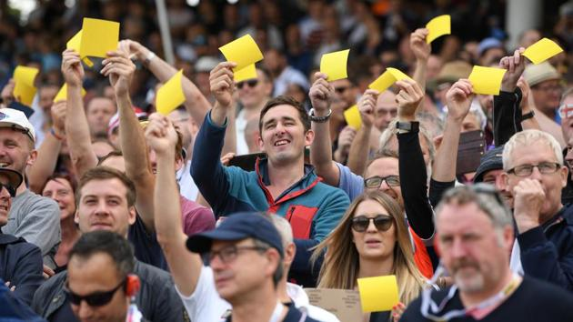 England fans show off their yellow sandpaper during day one of the First Specsavers Ashes Test Match between England and Australia at Edgbaston on August 01, 2019 in Birmingham, England.(Getty Images)