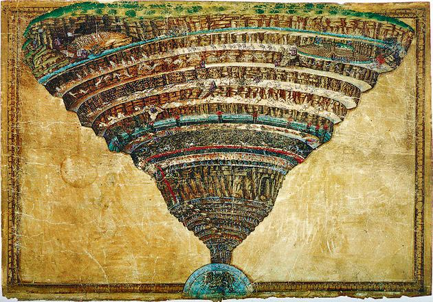 The Abyss of Hell by Sandro Botticelli (1445-1510). This is an illustration to the Divine Comedy by Dante Alighieri.(Heritage Images/Getty Images)