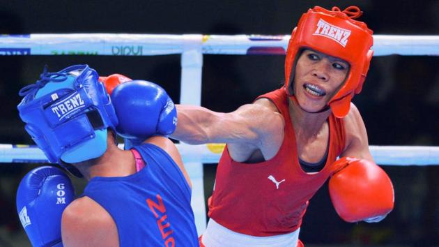 MC Mary Kom (R) at the 2nd edition of India Open International Boxing Tournament 2019.(PTI)