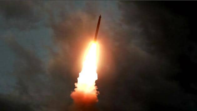 This screen grab image taken from North Korean broadcaster KCTV on August 1, 2019 shows a ballistic missile being launched from an unknown location in North Korea early on July 31.(Photo: AFP)