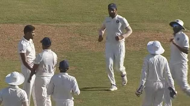 India A cricketers celebrate after picking a wicket on Thursday(Screen grab)