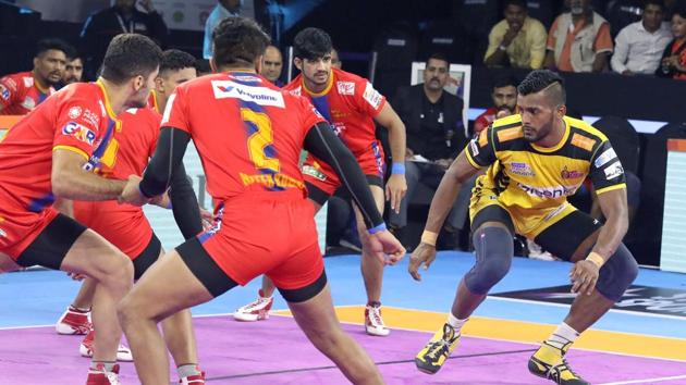 Telugu Titans tied with UP Yoddhas.(Pro Kabaddi League)
