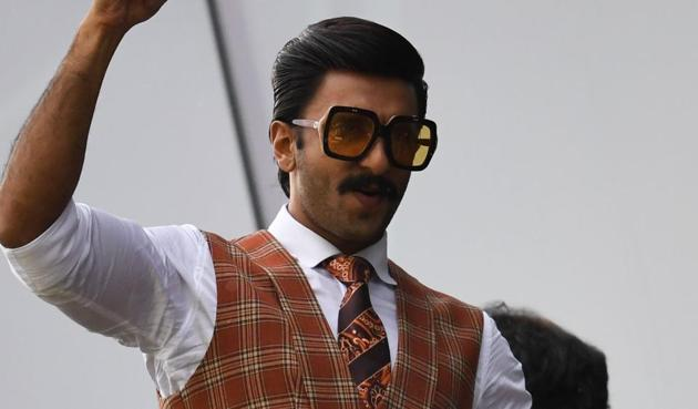 Ranveer Singh poses as he watches a match between India and Pakistan at Old Trafford in Manchester, northwest England during the 2019 Cricket World Cup.(AFP)