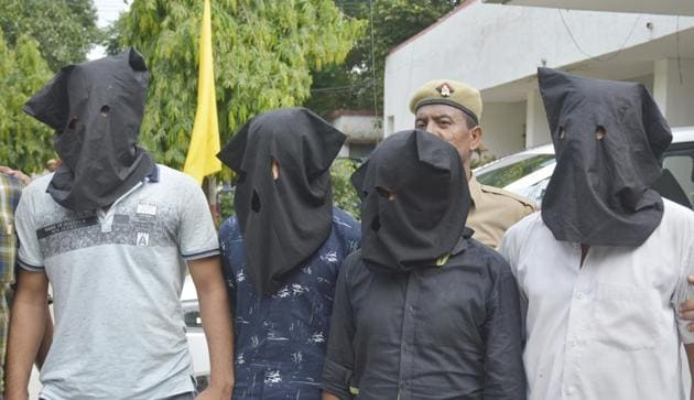 The Ghaziabad police arrested four people including a driver in connection to a theft of cash and valuables worth over Rs 1 crore, in Ghaziabad, India, on Thursday, August 1, 2019.(Sakib Ali / HT Photo)