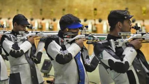 Representative image: File image of Indian shooters in action during a training session.(Burhaan Kinu/HT PHOTO)