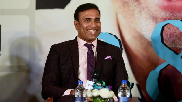VVS Laxman during the book launch of his autobiography.(Satyabrata Tripathy/HT Photo)