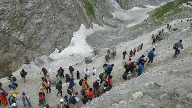 Jammu and Kashmir government advised pilgrims to leave as soon as possible.(PTI photo)