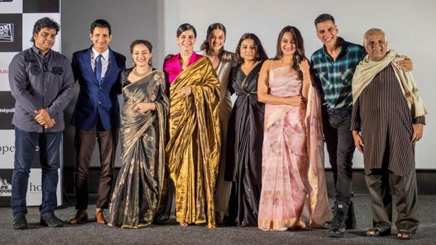 Jagan Shakti, Sharman Joshi, Nithya Menen, Kirti Kulhari, Taapsee Pannu, Akshay Kumar, Vidya Balan, Sonakshi Sinha and Vijay Singh was spotted at trailer launch of Mission Mangal on July 19, 2019 in Mumbai.(HT PHOTO)