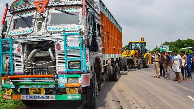 Accident site where the Unnao rape survivor was injured after the car in which she was travelling collided with a truck, near Raebareli on July 28, 2019.(PTI Photo)