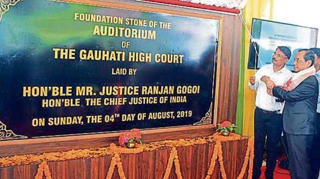 Chief Justice of India Ranjan Gogoi laying the foundation stone for the auditorium of the Gauhati high court on Sunday.(ANI)