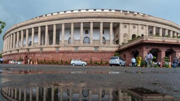 A view of the Parliament House following monsoon rainfall, in New Delhi. Lok Sabha has already passed 23 bills—the most under the NDA in a single session.(Photo: PTI)