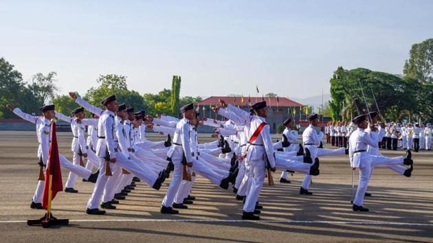 Passing Out Parade of 136th course of National defence Academy at Khetarpal Parade ground of the NDA Khadakwasla campus in Pune, India, on Thursday, May 30, 2019(HT file)