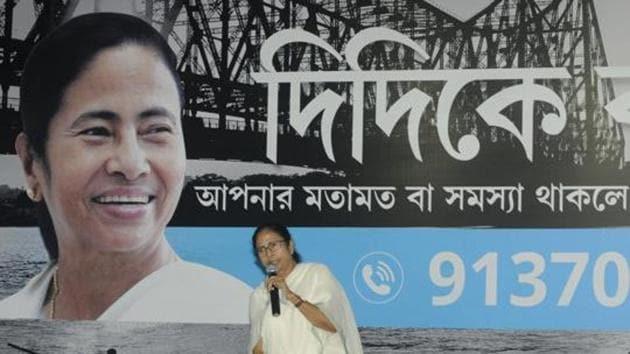 Kolkata, India - July 29, 2019: Chief Minister of West Bengal Mamata Banerjee addresses the media before her meeting with MLAs and 1000 TMC leaders at Nazrul Mancha, in Kolkata, West Bengal(Samir Jana/HT Photo)