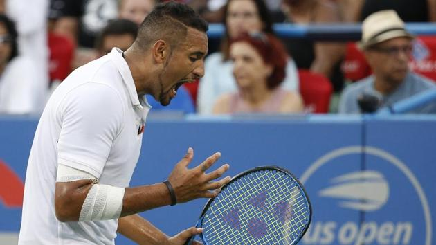 Nick Kyrgios of Australia yells on the court against Stefanos Tsitsipas of Greece(USA TODAY Sports)