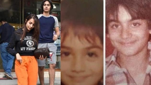 Malaika Arora shared a collage of son Arhaan and ex-husband Arbaaz Khan's childhood pictures.(Instagram)
