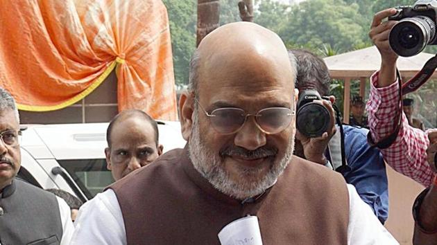 Union Home Minister Amit Shah arrives at Parliament before introducing a resolution to scrap Article 370 of Indian Constitution in New Delhi on Monday(ANI)