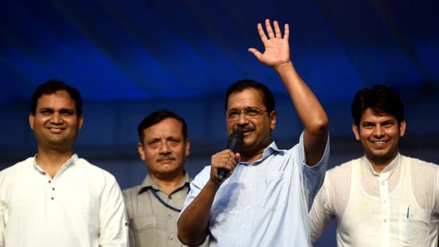 Delhi Chief Minister Arvind Kejriwal at an event at Sangam Vihar, in New Delhi, on Sunday, August 4, 2019.(Amal KS/HT PHOTO)