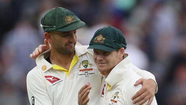 Australia's Nathan Lyon and Steve Smith after the match.(Action Images via Reuters)