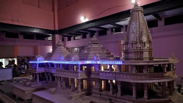 A model of a proposed Ram temple that Hindu groups want to build at a disputed religious site in Ayodhya.(Reuters Photo)
