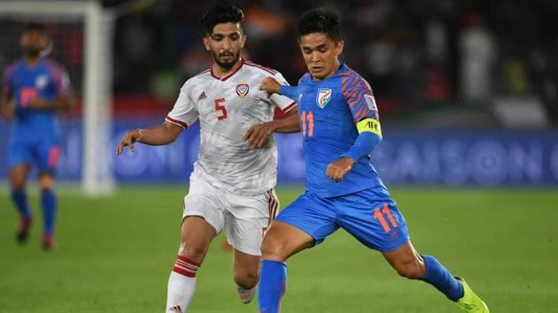 India's highest international goal scorer Sunil Chhetri in action.(Getty Images)