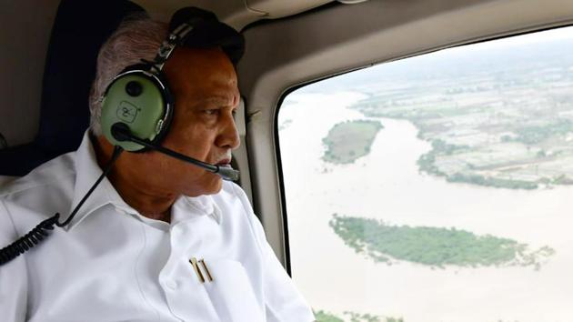 Karnataka Chief Minister BS Yediyurappa conducts an aerial survey of the flood affected districts of north Karnataka on Monday. He is scheduled to meet BJP central leadership regarding Karnataka cabinet expansion.(ANI Photo)