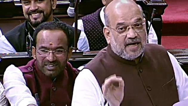 New Delhi, August 05 (ANI Photo): Union Home Minister Amit Shah speaks during the debate over Jammu and Kashmir Reorganisation Bill at Rajya Sabha in New Delhi on Monday. (ANI Photo)