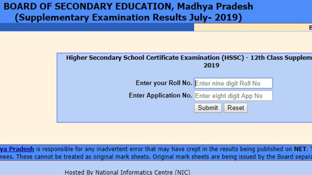 MP Board 12th supplementary result 2019 declared(MP Board website)