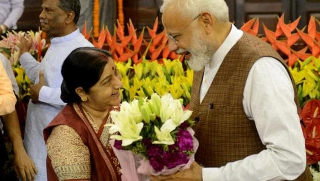 In a series of tweets, PM Modi expressed his condolence at the former External Affairs Minister's sudden death.(HT PHOTO.)