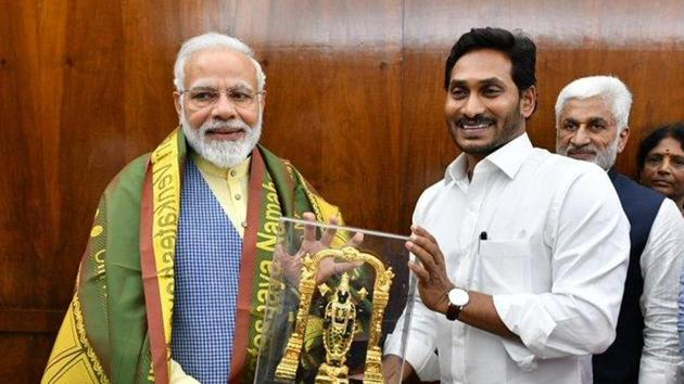 YSR Congress party president and Andhra Pradesh chief minister YS Jagan Mohan Reddy on Tuesday met PM Narendra Modi in New Delhi.(ANI PHOTO.)