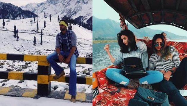 Zaheer Iqbal on sets of Notebook and Alia Bhatt chilling during Raazi shoot in Jammu and Kashmir.(Instagram)