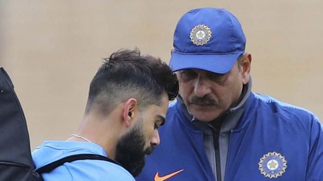 File image of India skipper Virat Kohli and Ravi Shastri (R).(AP)