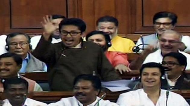 BJP Lok Sabha MP from Ladakh Jamyang Tsering Namgyal speaks during the ongoing budget session in New Delhi on Tuesday. (ANI Photo)