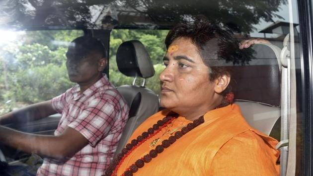 NeBJP MP Sadhvi Pragya Singh Thakur alleged that because of publication of the news in the media, she is subjected to media trial, which may affect her claim of being innocent and her plea of discharge.(PTI photo)