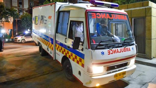 An ambulance carries the Unnao rape survivor to the AIIMS trauma centre for treatments after she was airlifted from Lucknow.(PTI Photo)