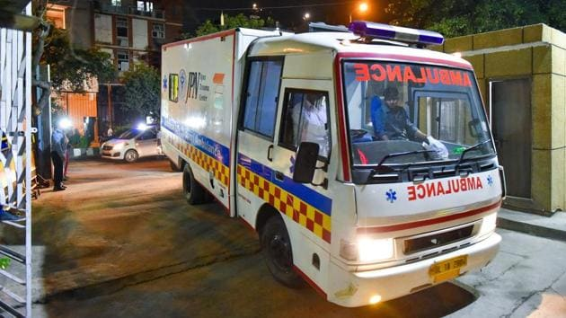 An ambulance carries the Unnao rape survivor to the AIIMS trauma centre for treatments after she was airlifted from Lucknow in New Delhi on Monday.(PTI)