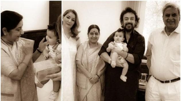 Adnan Sami shared old pictures of his family's meeting with Sushma Swaraj.(Instagram)