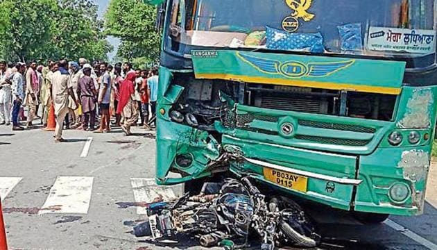The motorcycle reportedly rammed into the bus while overtaking a truck near Muktsar on Wednesday.