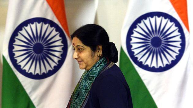 Sushma Swaraj didn't contest the elections Lok Sabha elections this time due to her poor health, she hadn't said she intended to retire from politics.(Mohd Zakir/HT PHOTO)