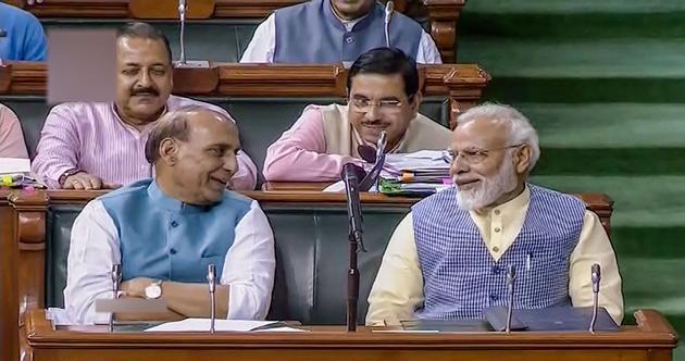 Prime Minister Narendra Modi and Union Defence Minister Rajnath Singh.(PTI)