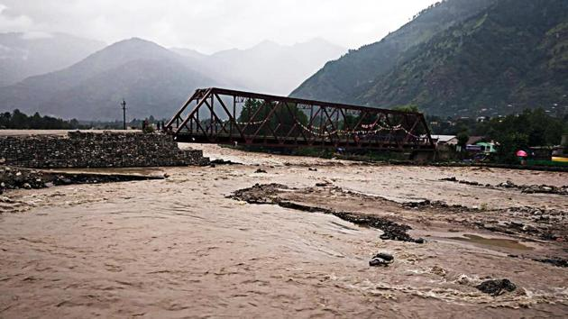 A view of Kullu district after a flash flood in Gorcha Nalla in Kullu on Wednesday.(ANI)