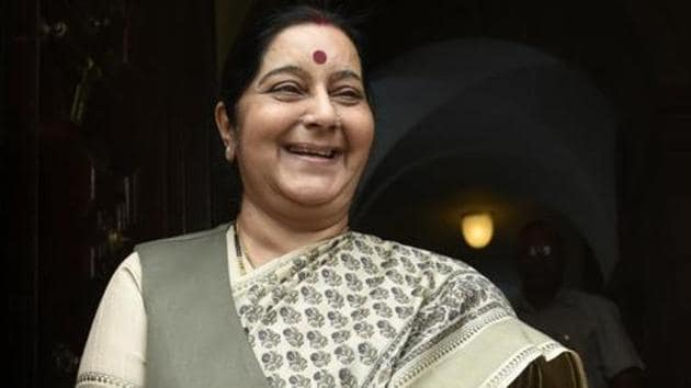 Sushma Swaraj was brought home from hospital last midnight when doctors at the All India Institute of Medical Sciences could not resuscitate her.(Sushil Kumar/HT PHOTO)