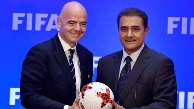 FIFA President Gianni Infantino and AIFF President Praful Patel.(PTI)