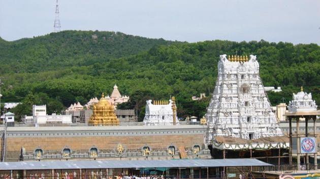 Lord Venkateswara temple atop Tirumala in Andhra Pradesh.(HT photo)
