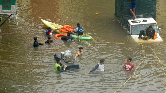 A view of the flood situation in Kolhapur, Maharashtra, on Wednesday, August 7, 2019.(Anil Velhal / HT Photo)