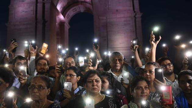 People rally in solidarity with the Unnao rape victim, New Delhi, July 29. The Unnao case is a chilling demonstration of what happens when women speak up(AFP)