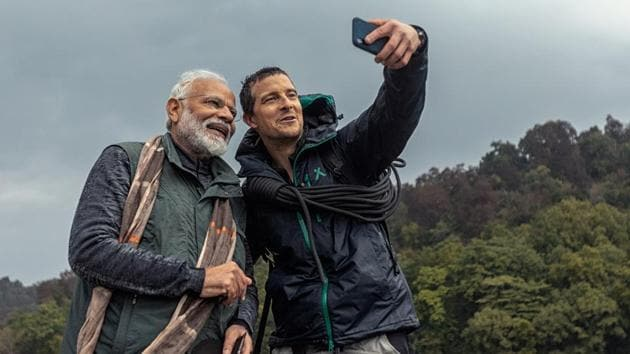 PM Narendra Modi takes a selfie with TV host Bear Grylls in a special episode of Discovery Channel's Man vs Wild.
