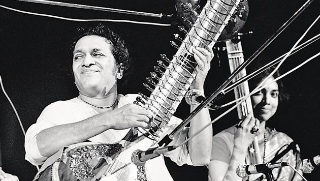 (L-R) Sitar maestro Ravi Shankar with Maya Chadda at Woodstock; the festival took place on Max Yasgur's dairy farm, which he rented to event organizers for $75,000.(Corbis via Getty Images)