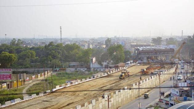 The National Highways Authority of India (NHAI) has opened a second elevated section under phase 3 of the Delhi-Meerut Expressway project. (Photo by Sakib Ali /Hindustan Times)