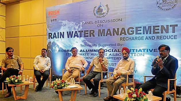 Speakers at a panel discussion on rainwater management organised in Lucknow on Sunday.